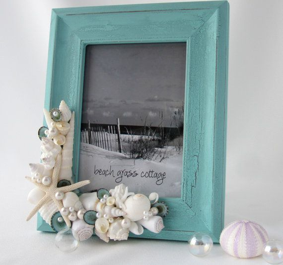 Beach Decor Seashell Frame - Nautical Aqua Shabby Chic Frame w Shells & White Starfish - 8x10