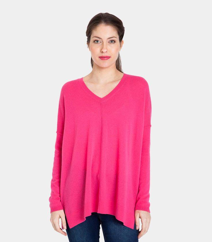 Womens Lightweight Cashmere Centre Seam Jumper in Shocking Pink / Style Code: Q32L #Pure #Cashmere