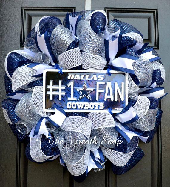Dallas Cowboys Mesh Wreath  Cowboys Wreath by CreationsbySaraJane