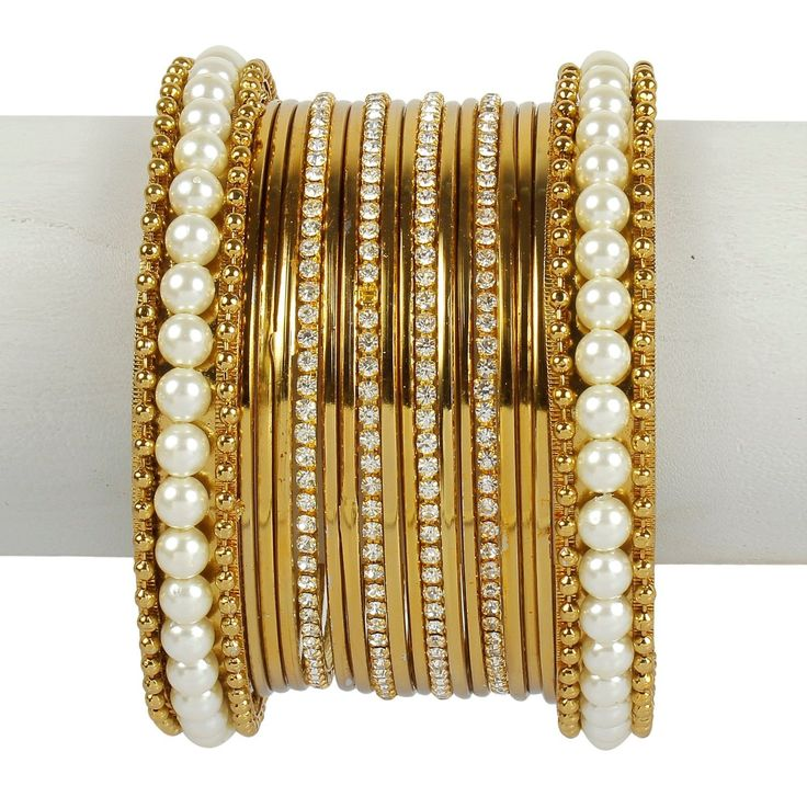 45 Indian Ethnic Bangles Jewelry Bollywood Bridal Gold Plated Antique Design Set