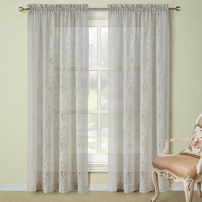 Ds Bath Sunflower Lace Window Curtain Rod Pocket Knitting Curtains