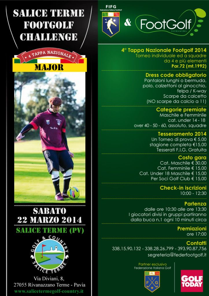 4°Tappa Nazionale #Footgolf al Golf Salice Terme (PV) sabato 22 marzo 2014 via @Federazione Italiana FootGolf