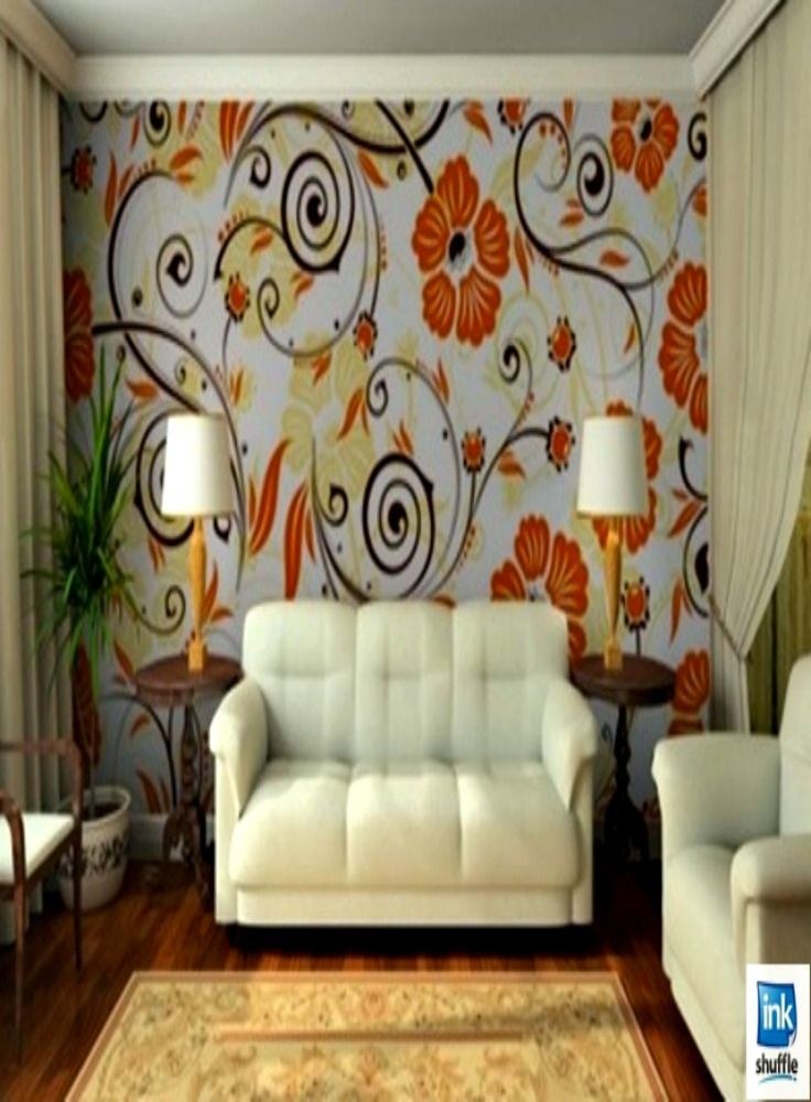 Mixed #floral wall mural rocks this living room. #interiordesign