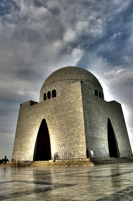 Mausoleum of Quaid-e-Azam, Pakistan. Mazar-e-Quaid, also known as the Jinnah Mausoleum or the National Mausoleum, is the final resting place of Quaid-e-Azam (Great Leader). The monumental tomb of Muhammad Ali Jinnah, is situated on a natural plateau within a 53 hectare park in the city of #Karachi #Pakistan.