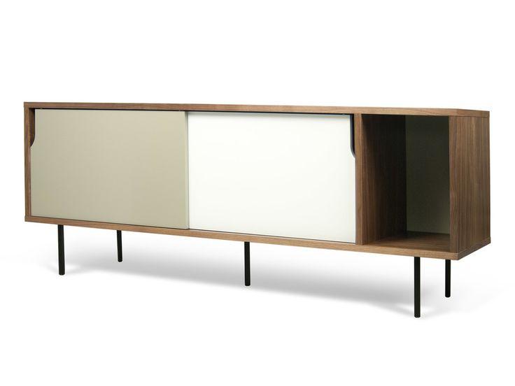 Buffet bas / Meuble TV en bois placage noyer DANN Blanc/Gris mat, Pieds métal