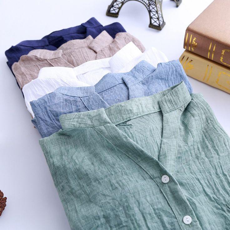2015 Summer Style Women Blouses Casual Loose Plus Size Cotton Linen Blouse Three Quarter Sleeve Shirts Women Tops blusas