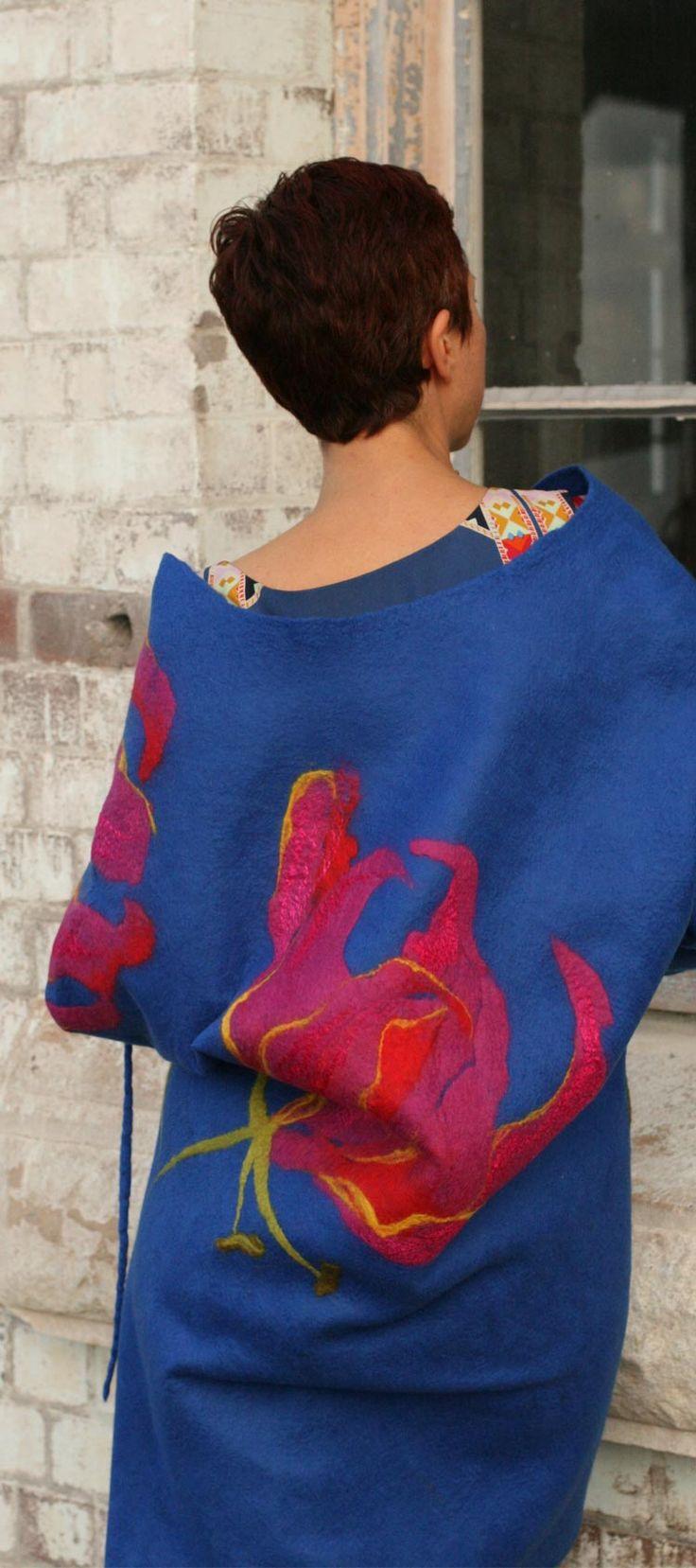 Buy eco-fashion style women's jacket by Vera Alexanderova #ecofashion #ecofriendly #womensfashion #unique #art #blue #coat #jacket #wool #felt #felted