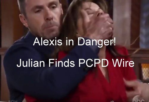 General Hospital (GH) spoilers from a new ABC video show that Alexis Davis (Nancy Grahn) may be in over her head with Julian Jerome (William deVry) and this