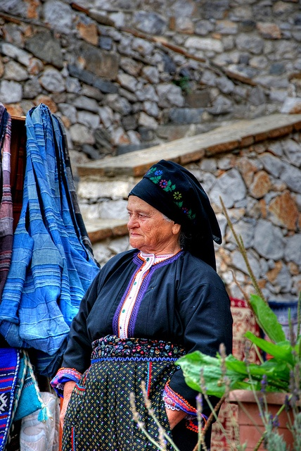 Woman in her traditional dress at the village of Olymbos, Karpathos, Greece