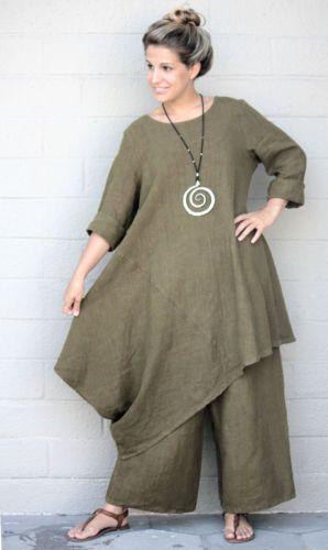 Bryn Walker Flax Heavy Weight Linen Nada Tunic Dress Top M M L Vista | eBay