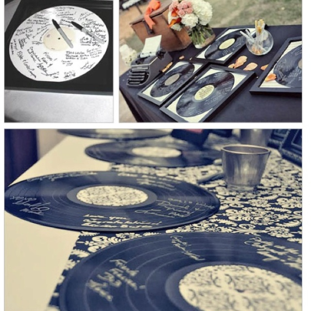 Record guest book- I LOVE this! Such a cute idea! Then they could be hung in the music room in my house [=