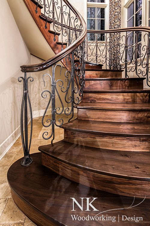 Classical Nouveau Walnut and Forged Balustrade Design