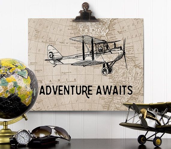 Adventure Awaits Print, Vintage Airplane Nursery, Adventure Awaits Map Wall Art, Airplane Decor, Aviation Gift, Travel Theme Nursery Art