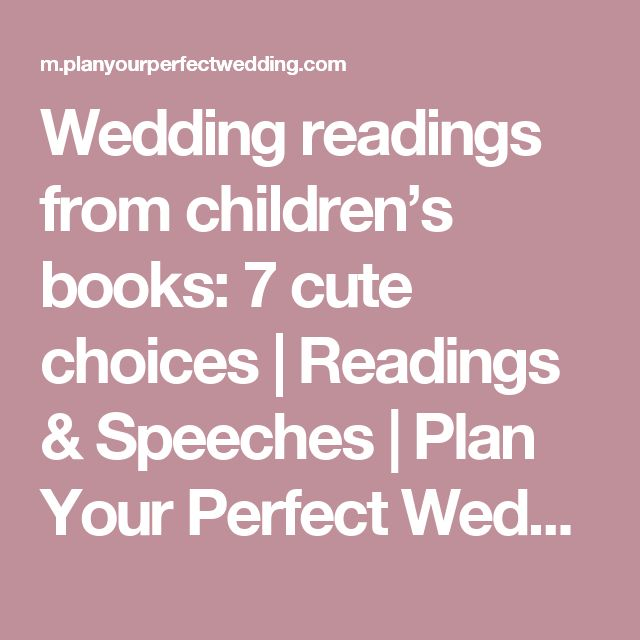 Wedding Readings From Children's Books: 7 Cute Choices