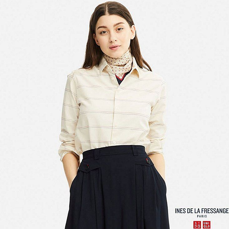 cute work outfit WOMEN IDLF OXFORD LONG-SLEEVE SHIRT, OFF WHITE