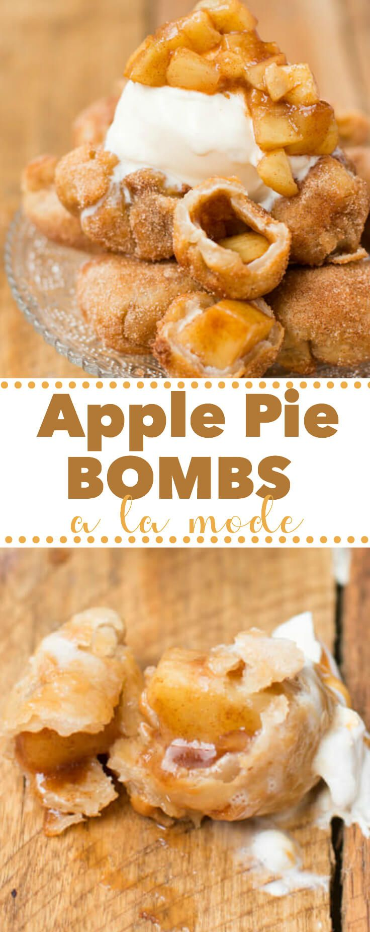 It's not fall until you've made apple pie bombs a la mode with creamy vanilla ice cream and those glazed apples all over the tops. I love fall dessert recipes! via @ohsweetbasil