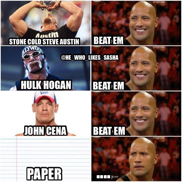 The Rock has beaten so many all time greats but paper is the one rival that will always have his number 😂😂. #wwe  #wwememes #stonecold #stonecoldsteveaustin #austin316 #hulkhogan #hulkamania #johncena  #therock #justbringit #dwaynejohnson #dwaynetherockjohnson #attitudeera #peopleschamp #thegreatone #wrestlemania #wwefunny #wrestler #wrestling #prowrestling #professionalwrestling  #wwf #wweuniverse #wwenetwork #wwesuperstars #raw #wweraw #smackdown #smackdownlive #nxt