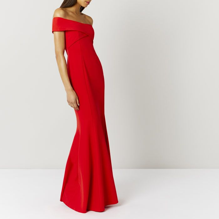 SOPHIE RED SCUBA PROM DRESS