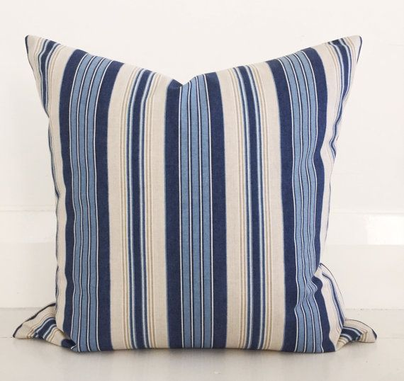 Coastal blue stripe cushion. This etsy shop in WA has beautiful cushions. 2 of these on the bed or 1 on the chair