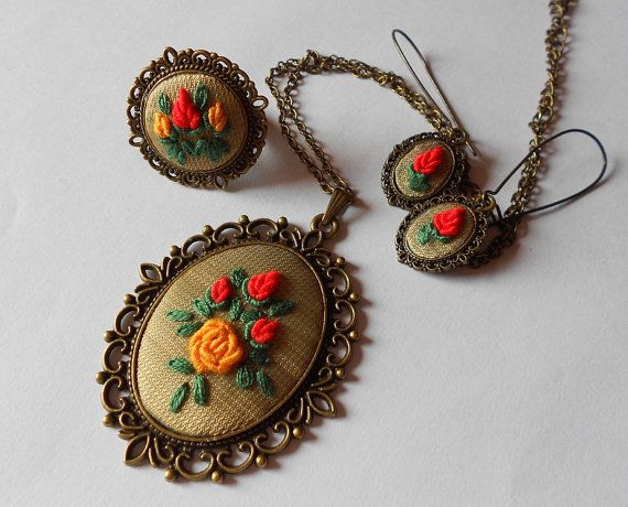 Embroidered Roses, Jewelry Set of Three, Pendant Necklace, Cocktail Ring, Dangle Earrings, Fabric Jewelry, Handmade Jewelry, Ooak