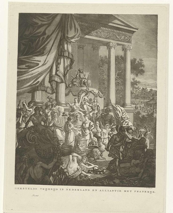 Willem Kok | Allegorische voorstelling op het bondgenootschap tussen Nederland en Frankrijk, 1795, Willem Kok, 1795 - 1800 | Allegorische voorstelling op het bondgenootschap tussen Nederland en Frankrijk, 1795. In het midden worden de Nederlandse Maagd en Franse Republiek (als jongeman) door de Vrijheid in het echt verbonden, met het teken van eeuwigheid: een ring gevormd door een slang die in zijn eigen staart bijt. Voor het huwelijkspaar bevinden zich een haan en een leeuw en achter hen…