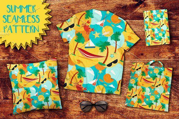 Summer Beach Seamless Pattern by barsrsind on @creativemarket