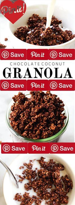 Oil-Free Chocolate Coconut Granola 20 mins to make IngredientsVegan Gluten freeBreakfast Foods1 cup Crispy brown rice cereal1 cup Rolled oats1/2 cup Steel cut oatsCondiments1/2 cup Maple syrupBaking & Spices1/4 cup Cacao or cocoa powderNuts & Seeds1/4 cup Coconut or coconut flakes unsweetened