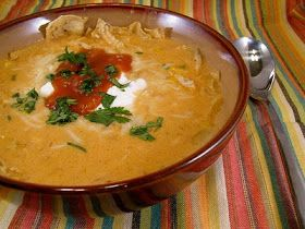 McAlisters chicken tortilla soup. I made two changes. 1: I used nacho cheese soup instead of cream of chicken. 2: I used the Swansons tortilla soup broth 1 32 oz. carton plus one can chicken broth.   It was delicious!