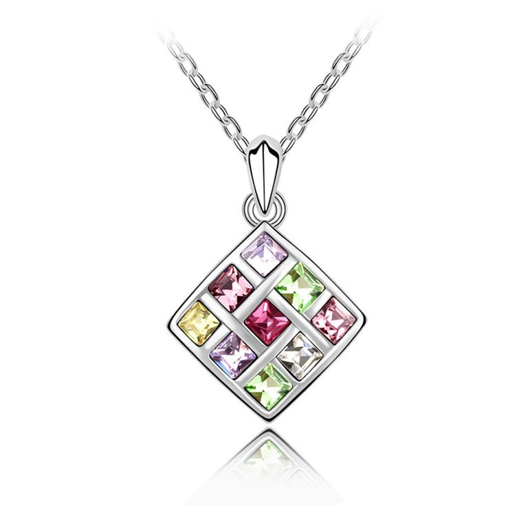 Cheap Statement Necklace 2017 Square Multicolored Austrian Crystal Pendant Simple Jewelry Women Gothic Choker Necklace NXL0167