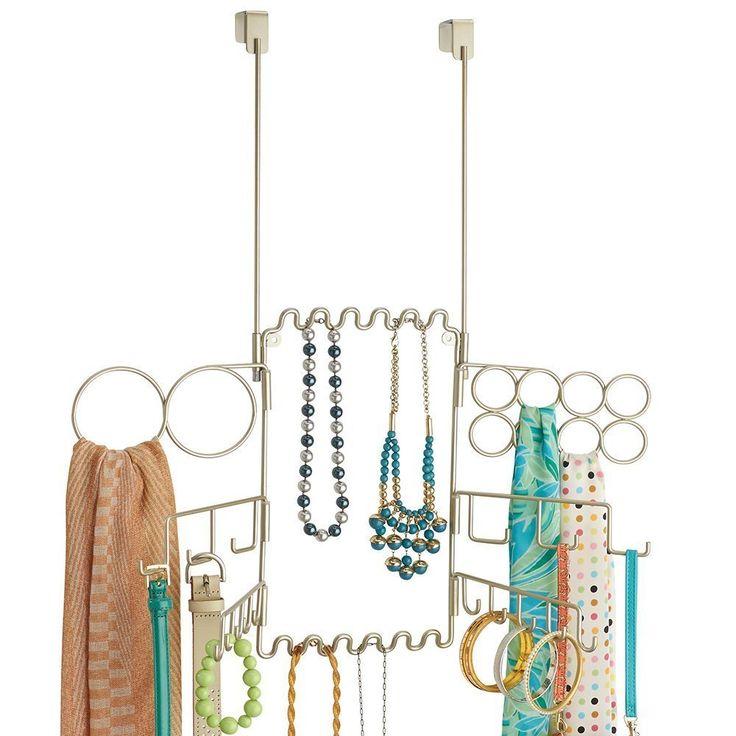mDesign Hängender Modeschmuck- und Accessoire-Organizer für Ringe, Ohrringe, Armbänder, Ketten, Gürtel, Schals - zum Hängen über die Tür, Satinert: Amazon.de: Küche & Haushalt