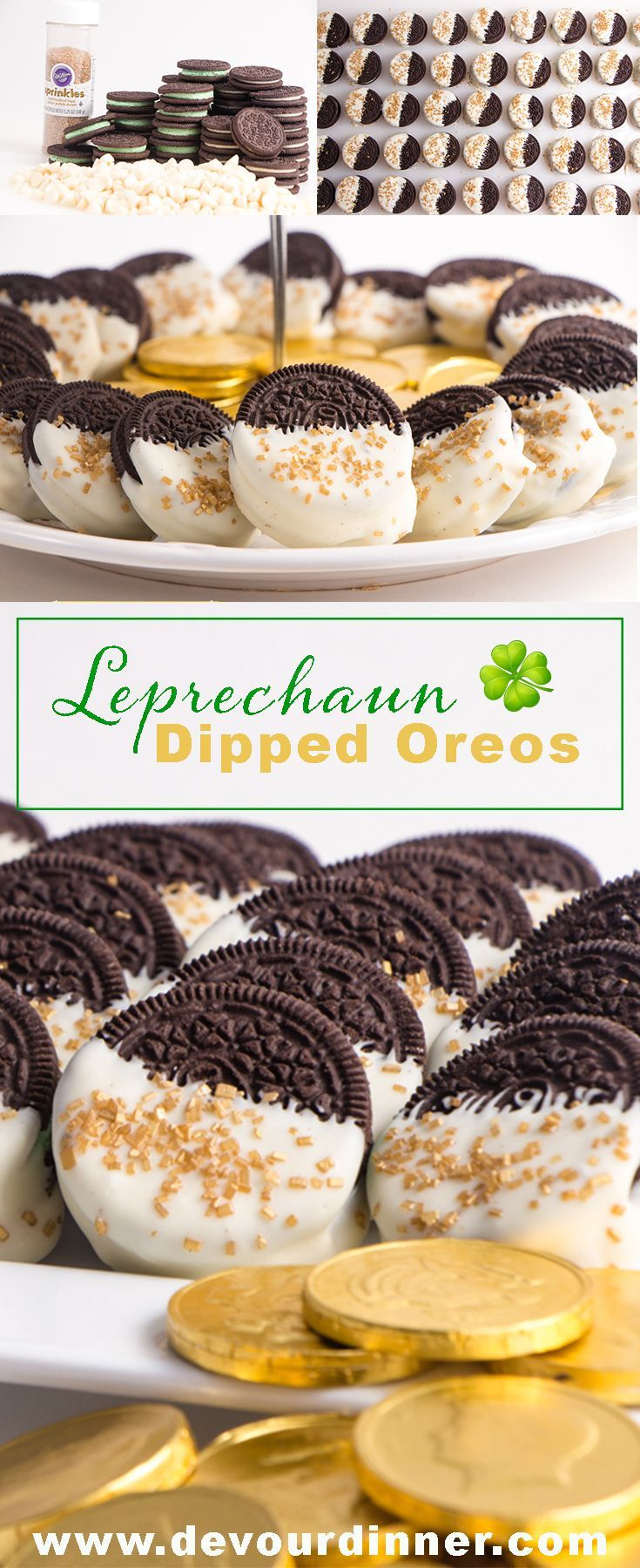 Dipped Oreos - Devour Dinner Catch a Leprechaun and steal his gold.  This quick and easy dessert will treat your tastebuds.  Luck of the Irish.  #Oreo #Whitechocolate #Recipe #recipes #food #Foodie #foodblogger #Buzzfeast #Dessert #dessertrecipes #stPatri