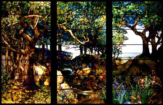 """A Wooded Landscape in Three Panels"", c.1905, fashiond with; glass, copper-foil and lead. Designed by Americn Artist, Louis Comfort Tiffany, (1848-1933). Created at Tiffany Studios, New York. ~ {cwl} ~ (Image/collection: The Museum of Fine Arts - Houston, Texas."