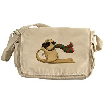 Sledding Pug Messenger Bag from cafepress store: AG Painted Brush T-Shirts. #bag #pug #Winter