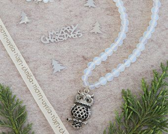 The owl 108 Mala Necklace, with moonstone semi-precious beads and an owl charm, 108 Mala beads, elastic band to wear on hand, yoga gift