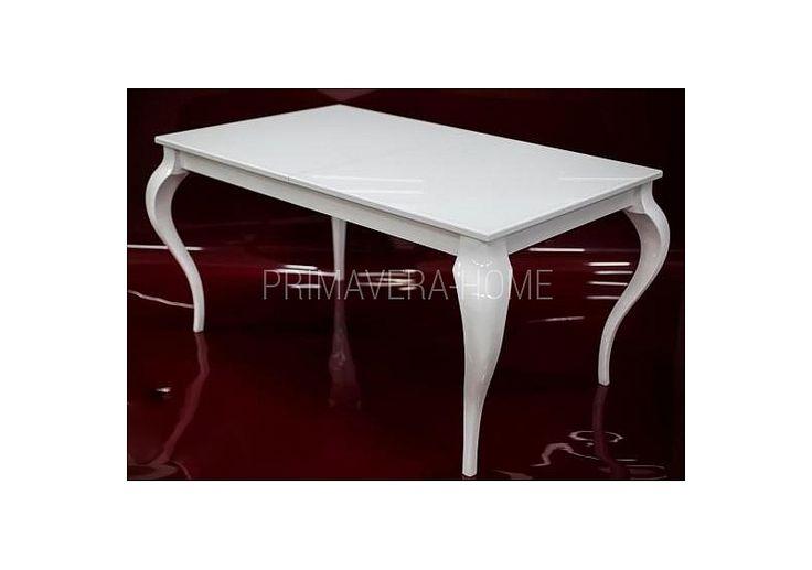 Stół do jadalni rozkładany drewniany czarny biały w stylu glamour Elizabeth