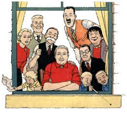 The Broons- from left clockwise-Maggie, Joe, Paw Broon, Hen, Daphne, Horace, the Twins, Maw Broon and the Bairn.