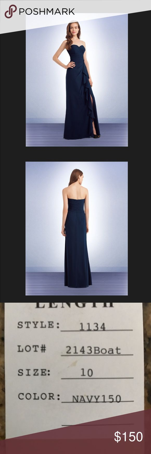 """Bill Levkoff Bridesmaid Dress Style # 1134 in Navy Bill Levkoff Bridesmaid dress. Style # 1134 in navy. size 10. Slit hit just above the knee so had it taken up to hit mid thigh/just below finger tips. I also had the dress hemmed. I'm 5'3"""". I wore the 4 inch heels pictured. (The shoes are not for sale but are pictured for reference). It is in excellent condition. It was only worn once. Navy. Blue. Sweetheart neckline. Strapless. Prom. Wedding. Bridesmaid. Floor length. Slit. Bill Levkoff…"""