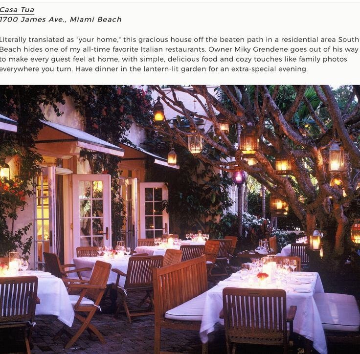 """Casa Tua"" is the name of the Italian food restaurante in South Beach -Miami - USA"