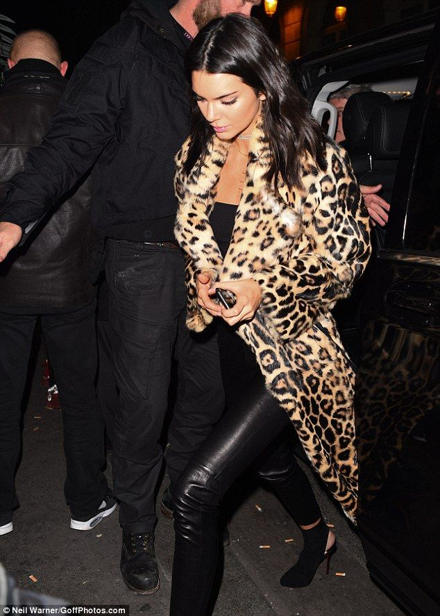"""Go wild for leopard print like Kendall in Saint Laurent Click """"Visit"""" to buy #DailyMail"""