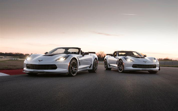 Hämta bilder Chevrolet Corvette, 2018, Kol 65 Edition, Sportbilar, sunset, Amerikanska bilar, Chevrolet