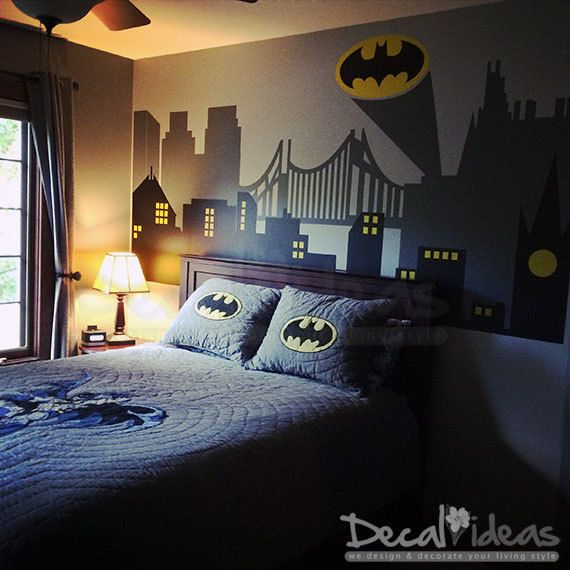 Batman superman spiderman Gotham City Skyline City Buildings with FREE Batman Emblem Vinyl Wall Decal Sticker - City Skyline - Batman Decal