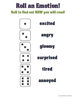 "Roll-an-Emotion Fluency Activity. I like this as an idea for writing and practicing ""tone."" Obviously, I'd have to come up with some better attitudes, but the idea of rolling the dice is really fun."