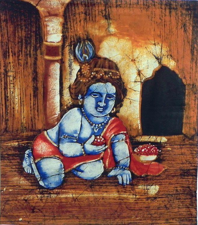Bal Gopala (Batik Painting on Cotton Cloth - Unframed))