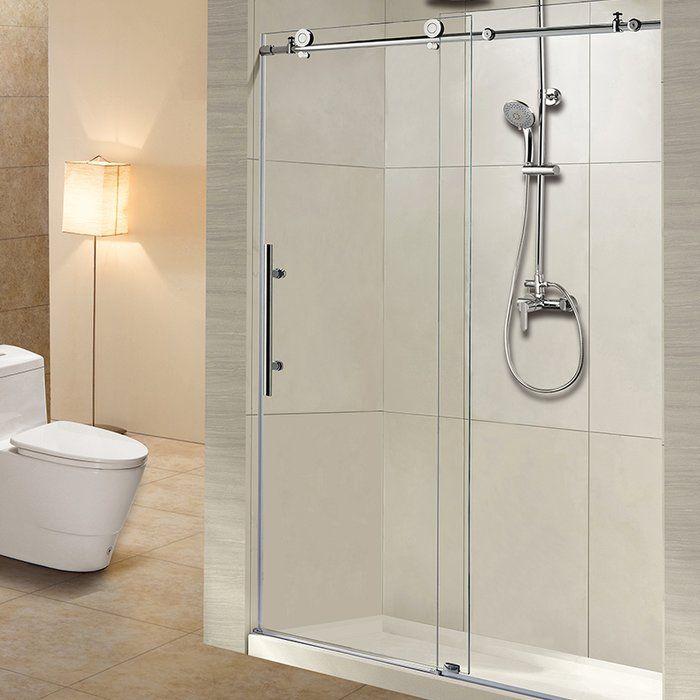 60 X 76 Single Sliding Frameless Shower Door Sliding Shower Door Shower Doors Frameless Shower Doors