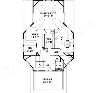 Balleroy House Plan - Balleroy House Plan Third Floor - Archival Designs