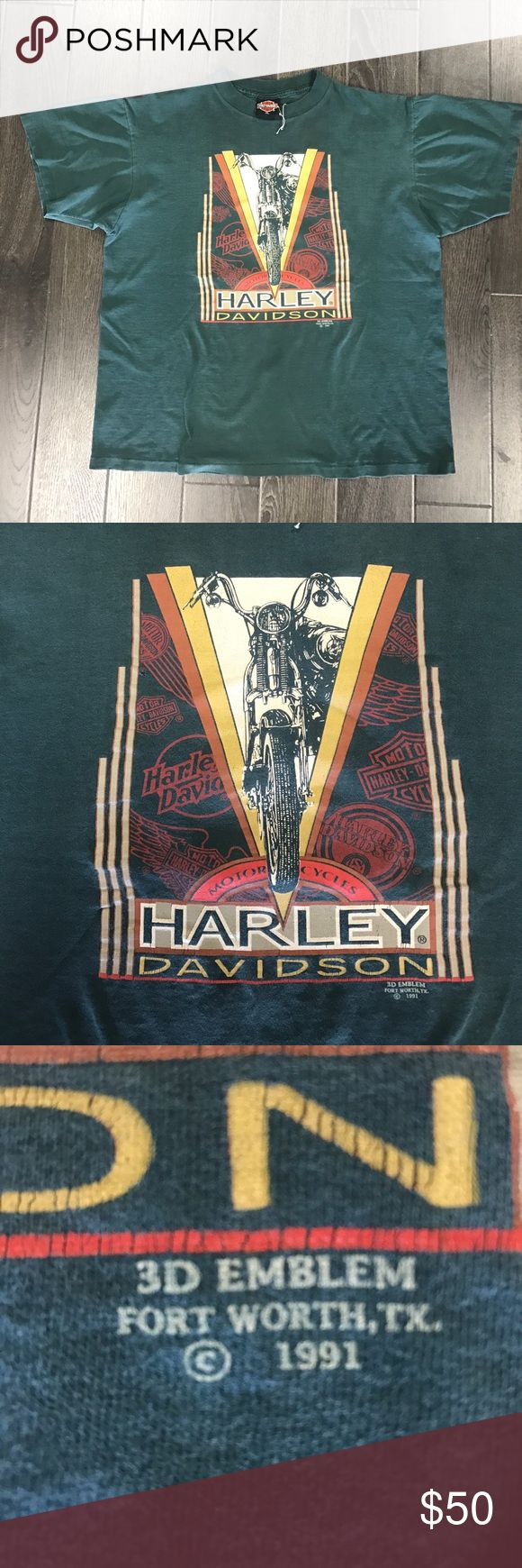 Rare 1991 Vintage Harley Davidson T-Shirt Rare 1991 Vintage Harley Davidson T-Shirt. Size XL but fits more like a L. Accepts Trades & Offers. DM or comment for questions. Check out our Instagram for more info: @gritcityacesclub Harley-Davidson Shirts Tees - Short Sleeve