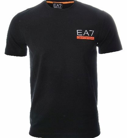 Armani T-shirt This plain black t-shirt features the Armani emblem with the words Emporio Armani across the chest with an orange background and also EA7 in reflective material. Colour: Black  Orange Fabric: 100% Cot http://www.comparestoreprices.co.uk/t-shirts/armani-t-shirt.asp
