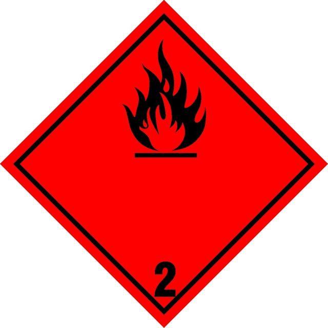 Naklejka Gazy Palne. Oznaczenie stosowane w transporcie gazów palnych określonych w klasie 2 Umowy ADR. Charakterystyka zagrożenia: Zagrożenie pożarem...