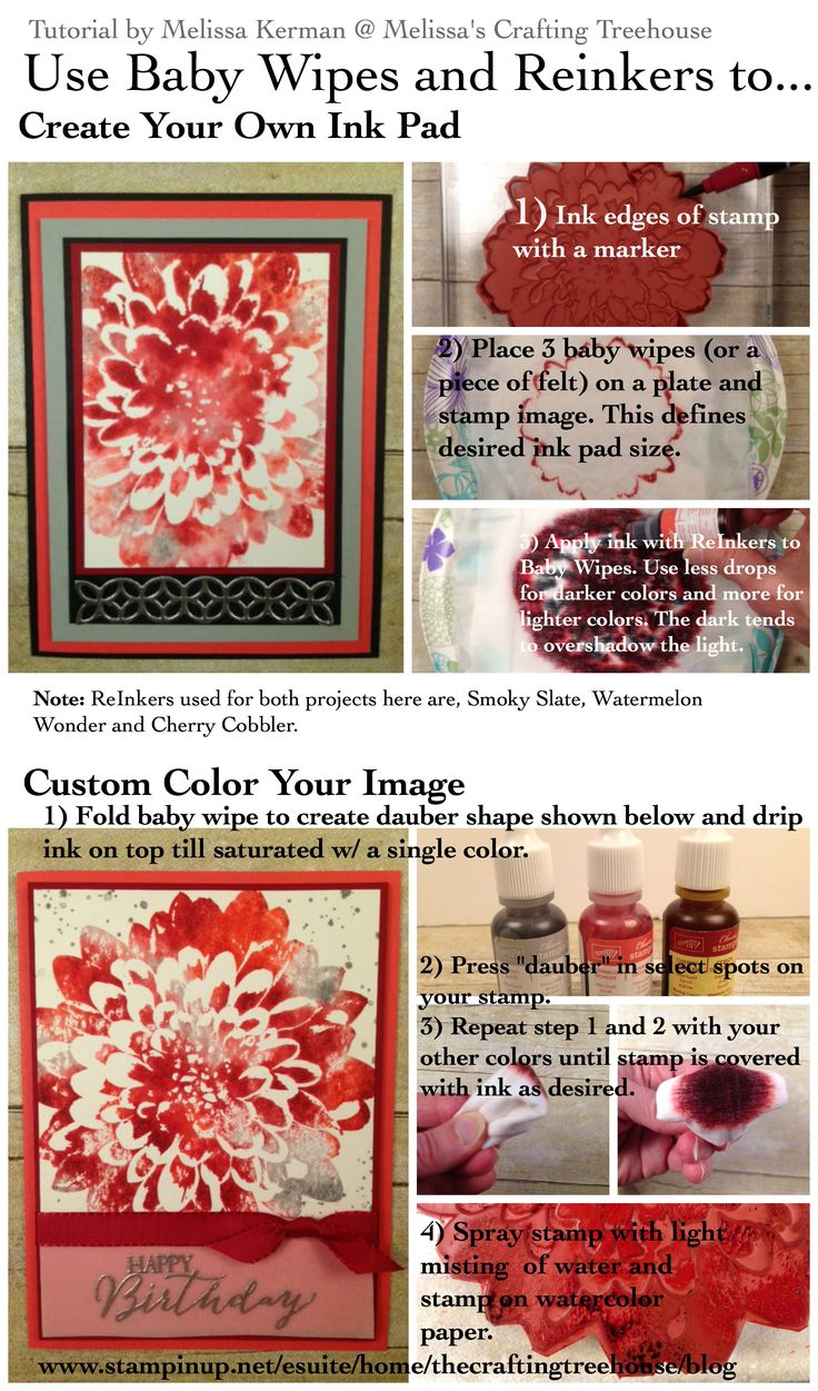 Tutorial for a DYI Ink Pad and dauber using baby wipes and reinkers using the Definitely Dahlia stamp by Stampin' Up! Project and tutorial by Melissa Kerman, Stampin' Up! demonstrator since 2003.
