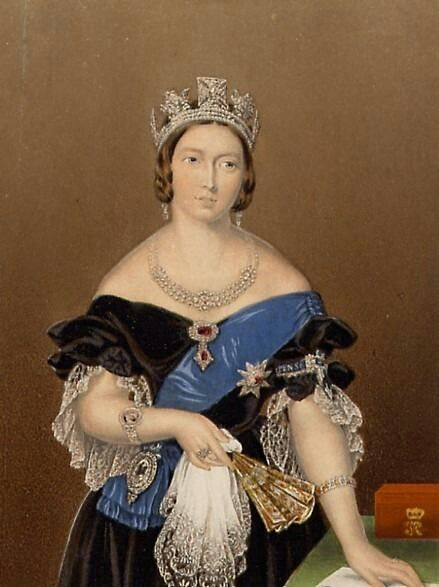 This print of Queen Victoria appears to be based upon John Partridge's 1840 portrait with some minor changes.